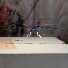 Blue Titanium Rimless eyeglasses womens Round Flexible Optical glasses frame Rx