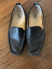 Ugg Ascot Black Leather Lined Sheepskin Slippers Size 11.5