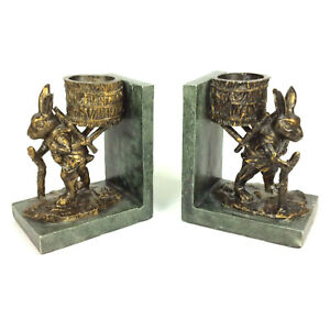 Clior Rabbit With Basket Bookends Hiking Traveling Bronze Painted Chalkware