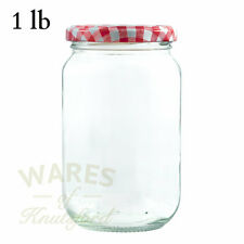 1lb (370ml) GLASS JAM JARS X 56 RED GINGHAM LIDS - FREE COURIER DELIVERY