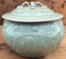 Vintage China Longquan Celadon Covered Bowl Pot Light Green Hibiscus Pattern