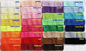 "Lot 30 Crochet Headbands Baby Girls 1.5"" U Pick Colors!"