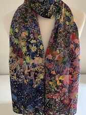 Scarf / Shawl ~ 100% Mulberry Silk Crepe De Chine ~ Stunning Tiny Floral On Navy