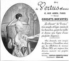 """PARIS MAGASIN DE MODE """" MAISON DE VERTUS SOEURS """" CORSETS  PUBLICITE 1912"""