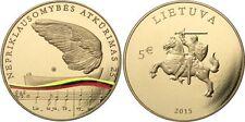 5 EURO COIN 2015 Lituania LT Lituanie - 25 anni di indipendenza di Litauen UNC