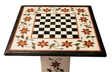 Table Top Marble Chess Coffee Table Rare Outdoor Black White Floral Pedestal Art