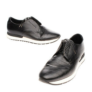 RRP €445 ARMANI COLLEZIONI Leather Sneakers Size 42 UK 8 US 9 Crocodile Pattern
