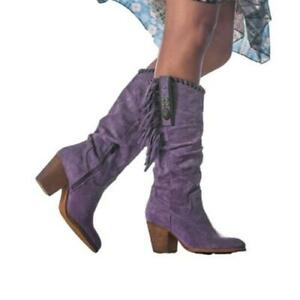 Europe Women Tassels Cowboy Round Toe Block Low Heel Mid-calf Boots 41 42 43 D
