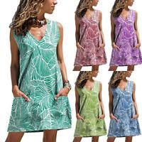 Women Summer Dress V-neck Printing Dresses Ladies Pocket Tank Tops Dress DZ