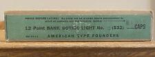 Nos Atf 12pt Bank Gothic Light No8 Caps Letterpress Type Vintage Sealed