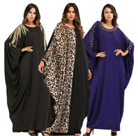 Dubai Muslim Women Maxi Dress Bat Sleeve Islamic Abaya Kaftan Vintage Long Robe