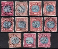 Victoria selection of red and blue used postage due stamps