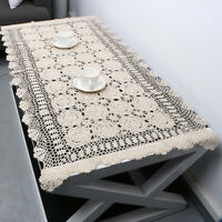Rectangle Cotton Crochet Lace Tablecloth Dining Table Cloth Cover Wedding Party