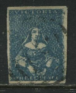 Victoria QV 1850 3d blue used with 4 large margins