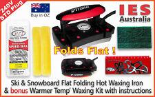 Ski-Snowboard Vitora Flat Folding Hot Waxing Iron + Warm Temp Hot Wax Kit &Guide