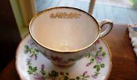 Vintage Signed Mother Royal Standard English Columbine Tea Cup  Saucer Gold Trim