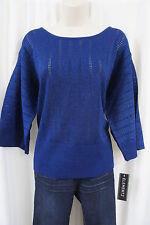Elementz Top Sz XL Tanzanite Blue Metallic 3/4 Sleeve Evening Sheer Knit Blouse