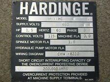 Hardinge Lathe Name Id Plate Hc Chucker Nameplate Decal Emblem