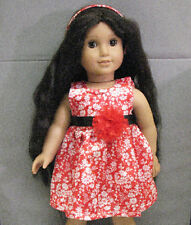 """18"""" American Girl: Doll Clothes - Red & White Floral Satin Dress w/ Head Band"""