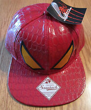The Amazing Spider-Man Spiderman Snapback Hat Marvel Comics NWT -  RED EYES