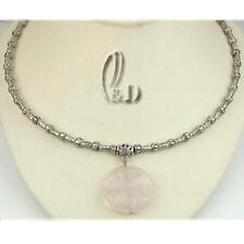 Au Seller Chic Vintage Big Natural Rose Quartz Pendant Necklace n099