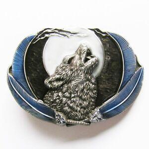 Western Howling Wolf Moon Color Metal Fashion Belt Buckle