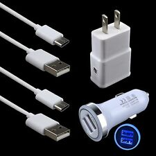 AC Wall & Car Charger+2xUSB 3.1 Type C Cable for ZTE Zmax Pro Z981 Grand X 4 X3