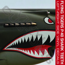 "Flying Tigers Shark Teeth P-40 Warhawk Vinyl Decal Stickers 1 Pair - 2"" in."