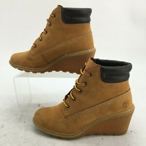 Timberland 6 inch Amston Wedge Boots Womens 6 Brown Ankle Booties Lace Up 8251A