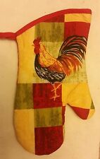 """Fabric Printed Kitchen 12"""" Jumbo Oven Mitt, yellow Rooster, w/ red back"""