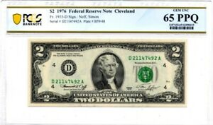 1976-D U.S. $2 - Federal Reserve Note - PCGS Banknote Choice UNC 65 PPQ