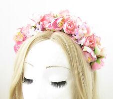 Pink Rose Blossom Flower Headband Hair Crown Boho Festival Garland Headpiece 868