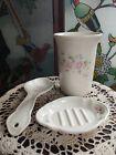 Lot of 3 Vintage Pfaltzgraff Tea Rose Utensil Holder/Vase Soap Dish Spoon Rest
