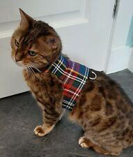 LAND O BURNS BENGALS CAT HARNESS / WALKING JACKET MULTI TARTAN/ ROYAL - SMALL