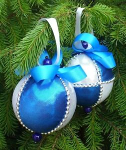 Christmas Handmade Luxury 8cm Tree Baubles Blue And Silver Decoration Ornament