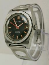 Vtg 1970s Sisicton Hydrostar Automatic Orange Gents Diver Watch On Rally Strap