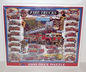 A History of American Fire Trucks 1000 Piece Puzzle Sealed New White Mountain