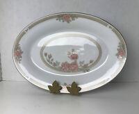 Crown Ming China CHRISTINA #1392 Oval Serving Platter Bowl Gold Trim #1