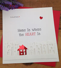 "Handmade Personalised Card Congratulations New Home ""Little Red House"""