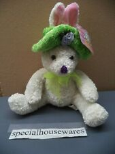 """Peachtree Playthings Easter Stuffed Rabbit 10"""" White Chenille & Poly Fibers NWT"""