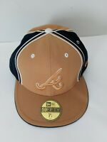 Atlanta Braves MLB New Era 59FIFTY 100% Wool Fitted Hat Cap Gold Black Sz 7 1/2