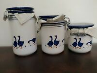 3 Vtg ROSENTHAL NETTER Italy Pottery Canisters Jars BLUE GEESE NEW IN BOX