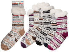 Womens Stripes Comfort Socks - Winter Cold Weather Fluffy Warm Cosy Present