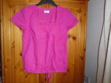 Hot cerise pink striped cap sleeve hip length summer top, BHS, size 12
