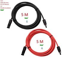 One Pair 5M 4mm2 Extension Cable Wire MC4 Connectors Solar Panel Cable New