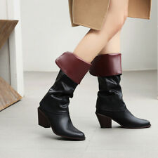 Womens Fashion Pointed Toes Block Heels Mid-Calf Boots Winter Chic Workwear