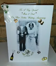 LARGE A4 FOLDED WEDDING ANNIVERSARY PHOTO CARD WITH FREE DECORATED ENVELOPE