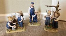 Denim Days Lot Of 3 Figurines - Horseshoe, Tree Swing, Fence Painting