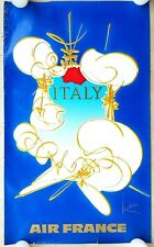 """AIR FRANCE """"ITALY"""" Vintage 1960's Airline Travel Poster Art by Georges Mathieu"""