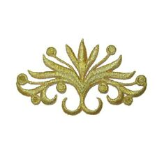 Met Gold Iron On Embroidered Blooming Crest Applique